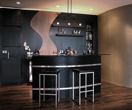 Contemporary Home Bar Design Ideas: Black Home Bar Furniture