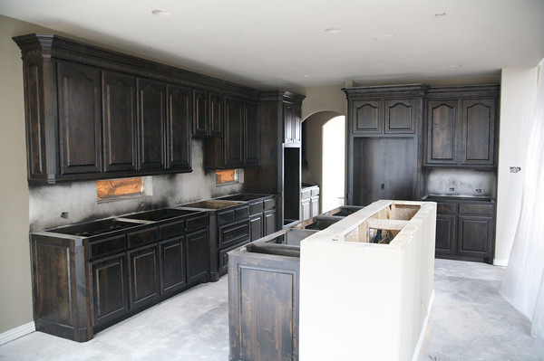 staining oak kitchen cabinets black color quartz