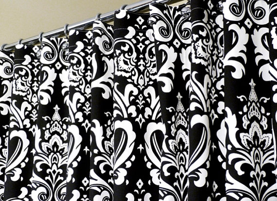 Curtains With Red Flowers Black and White Damask Pattern