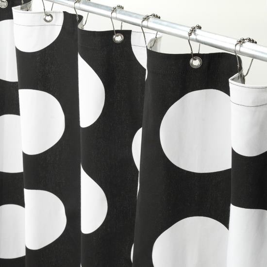 Dot Shower Curtain Black And White black and white polka dot shower ...