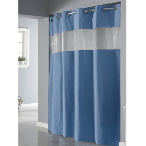 Blue Hookless Shower Curtain