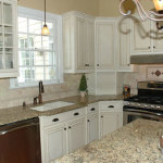 Glazed White Kitchen Cabinets