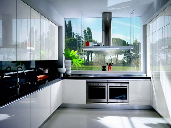 Shiny white kitchen cabinets