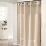 Hookless Fabric Shower Curtain with Snap Liner