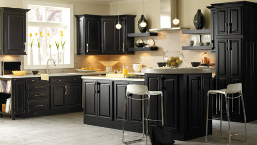 Distressed Black Kitchen Cabinets Design Ideas