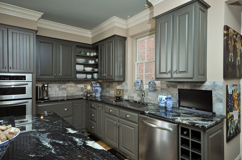 Painting kitchen cabinets grey quotes for Grey green kitchen cabinets