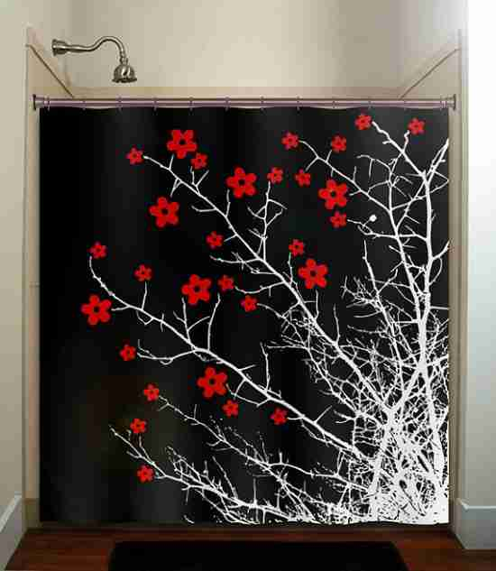 Red Black and White Shower Curtains