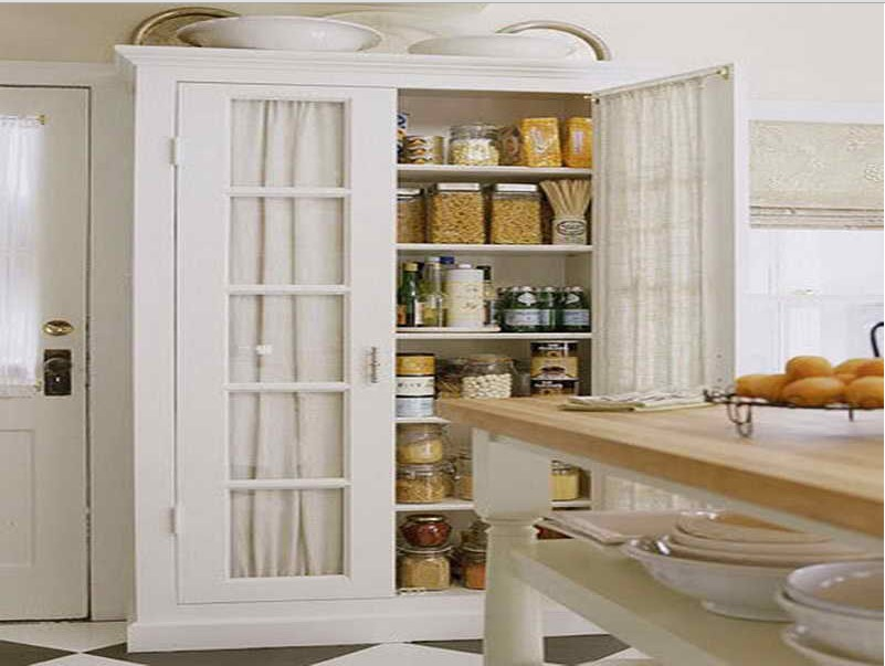 Tall white kitchen pantry cabinet decor ideasdecor ideas for Tall kitchen cabinets