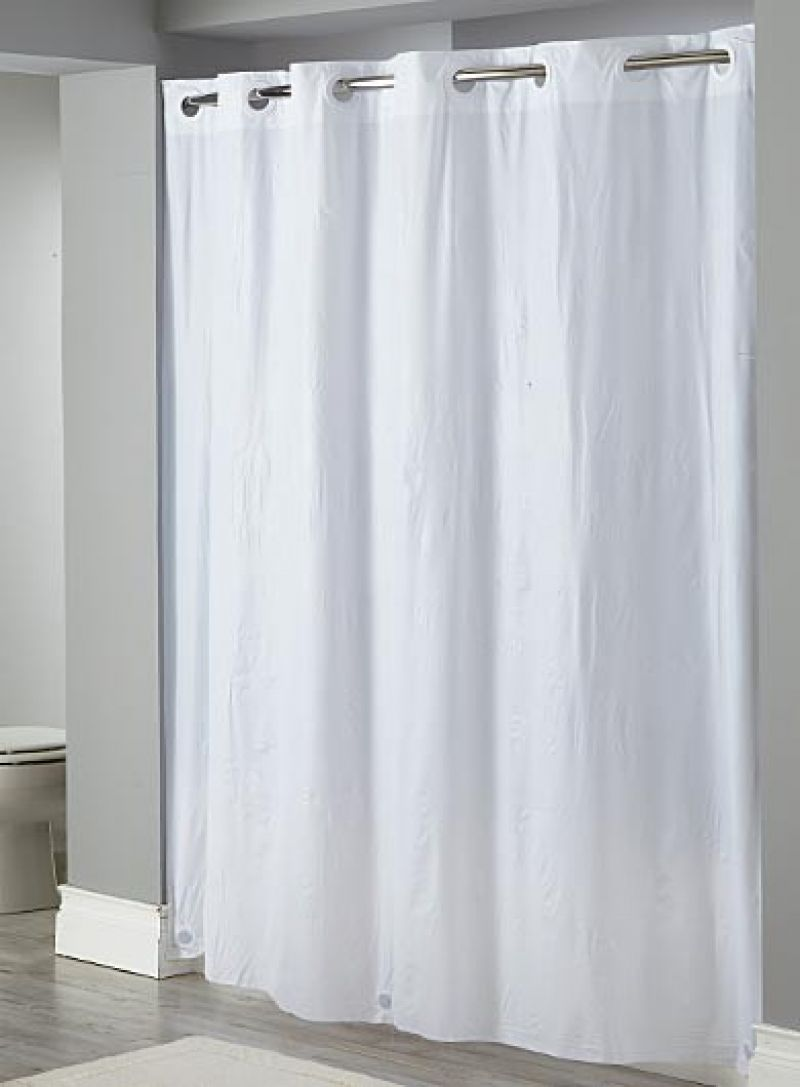 White hookless shower curtain decor ideasdecor ideas for Curtain making service