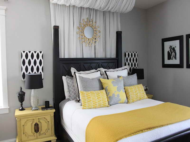 Yellow and gray bedroom decorating ideas decor for Bedroom ideas grey and yellow