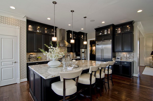 Photo Gallery Of The Distressed Black Kitchen Cabinets Design Ideas