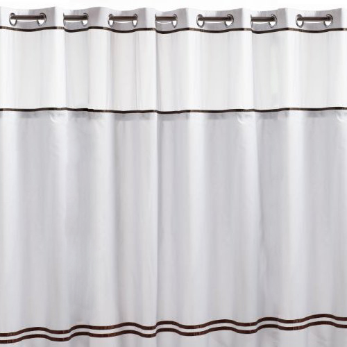 White Wood Curtain Rod Brackets Brown Hookless Shower Curtain