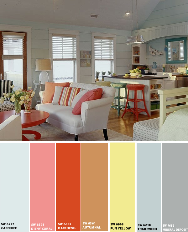 Beach house color schemes interior joy studio design Home interior paint schemes