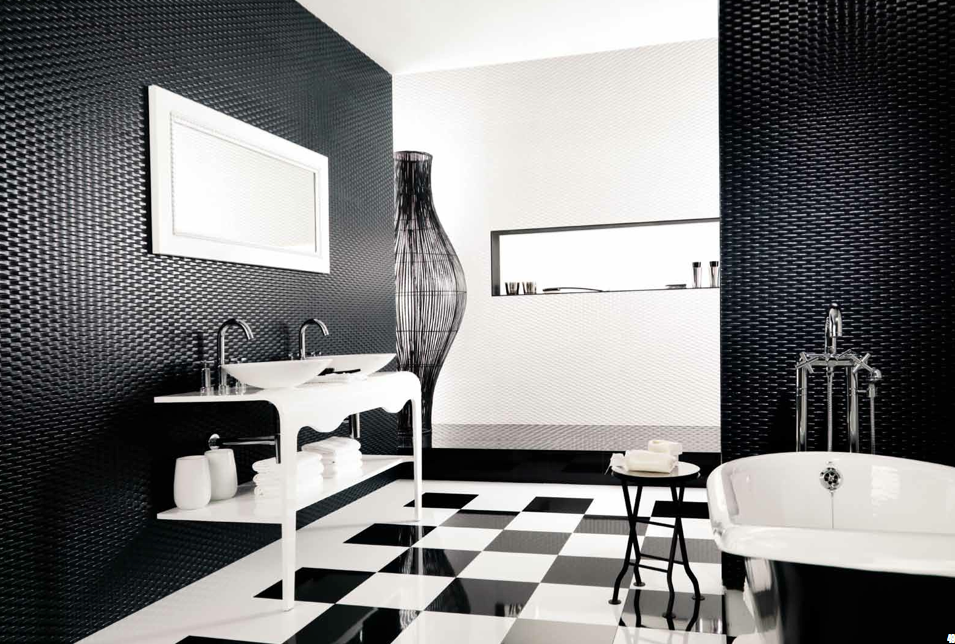 Black and white bathroom floor tiles decor ideasdecor ideas for Carrelage salle de bain noir et blanc