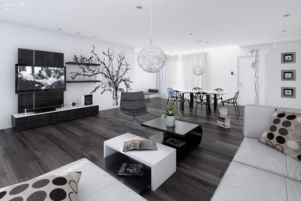 Black And White Modern Living Room Decor IdeasDecor Ideas
