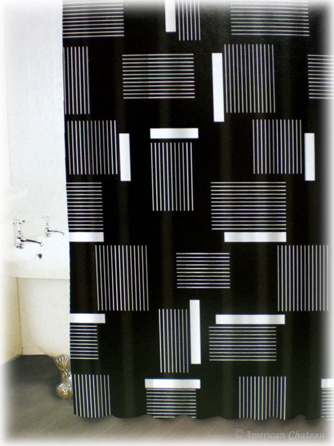 Black and white shower curtain set decor ideasdecor ideas for Black and white bathroom sets