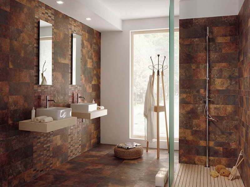 Brown bathroom floor tiles decor ideasdecor ideas for Brown bathroom designs