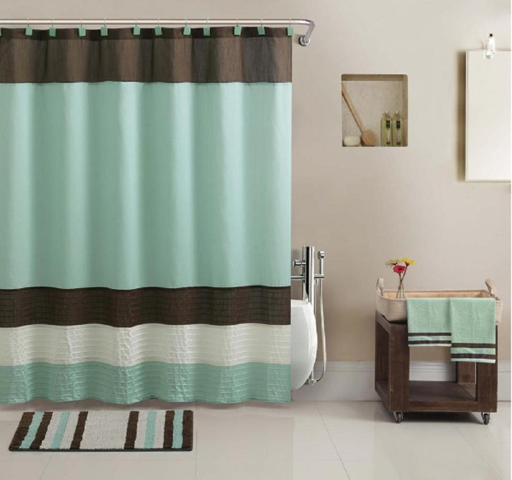 Cheap shower curtain sets decor ideasdecor ideas for Green and brown bathroom set