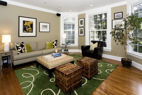 Living Room Colors with Green Rug