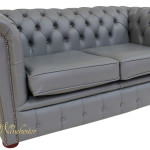 Grey Leather 2 Seater Sofa