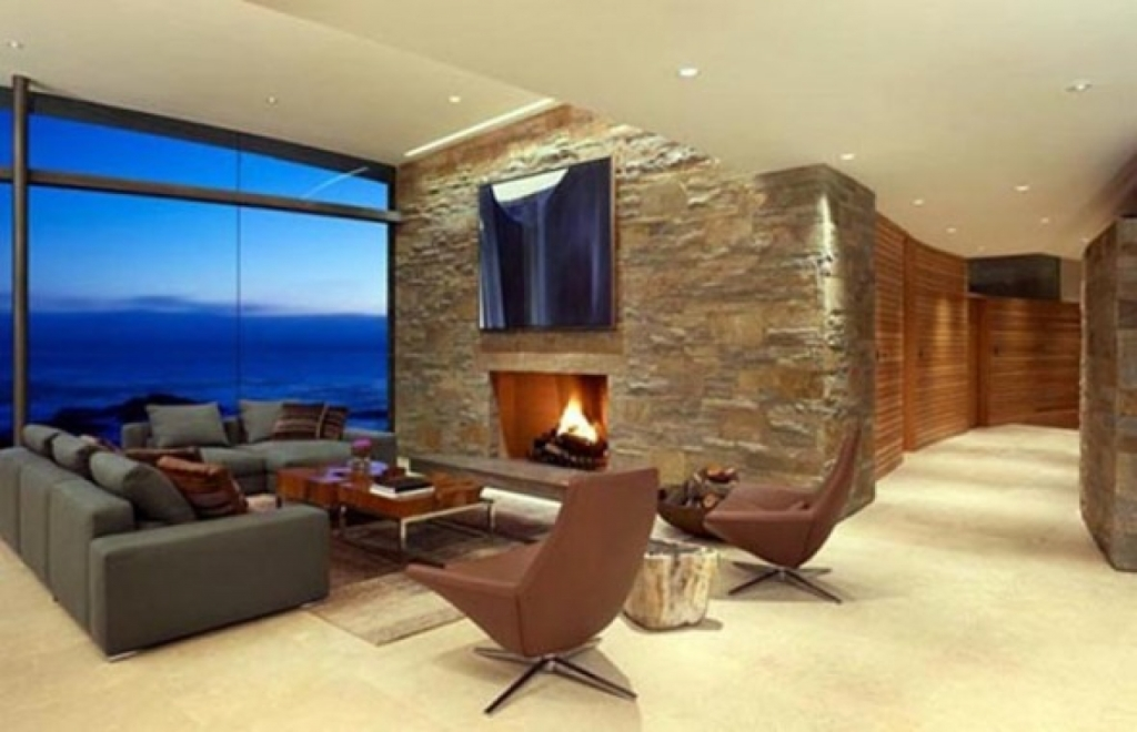 Modern living room with fireplace decor ideasdecor ideas for Modern beach house living room