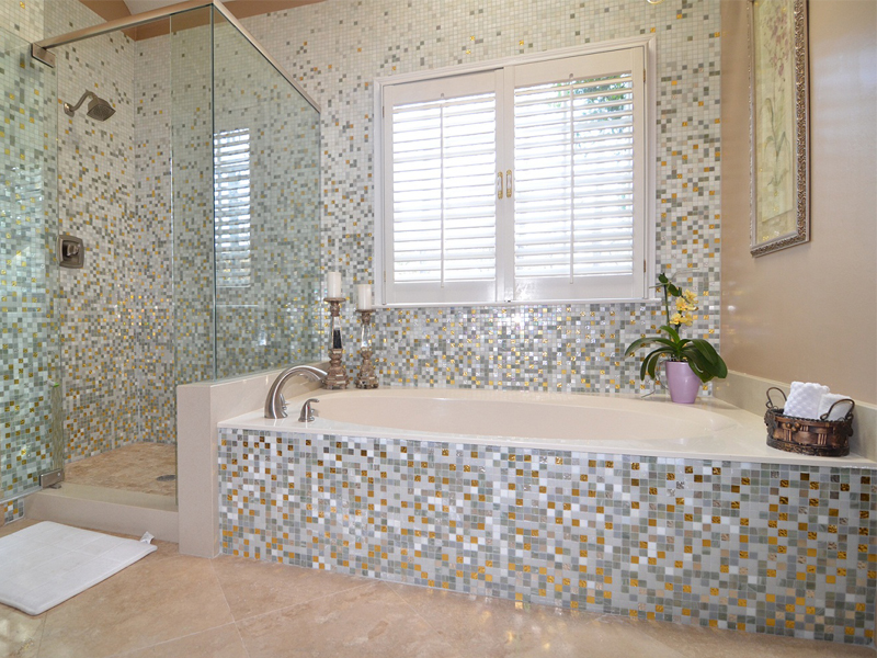 Wonderful Modern Narrow Bathroom Design Ideas With Attractive Ocean Blue Mosaic Tiles And Corner Bathtub Shower Unit With Chromed Shower Header And Faucets