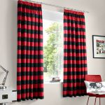 Red and Black Bedroom Curtains