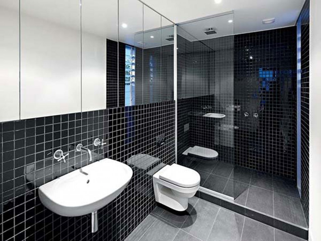Black and white bathroom tile design ideas decor for Bathroom ideas black tiles