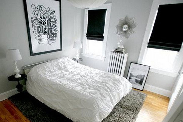 Black and white bedroom curtains decor ideasdecor ideas for Bedroom decorating ideas with white walls