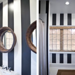 Black and White Striped Bathroom