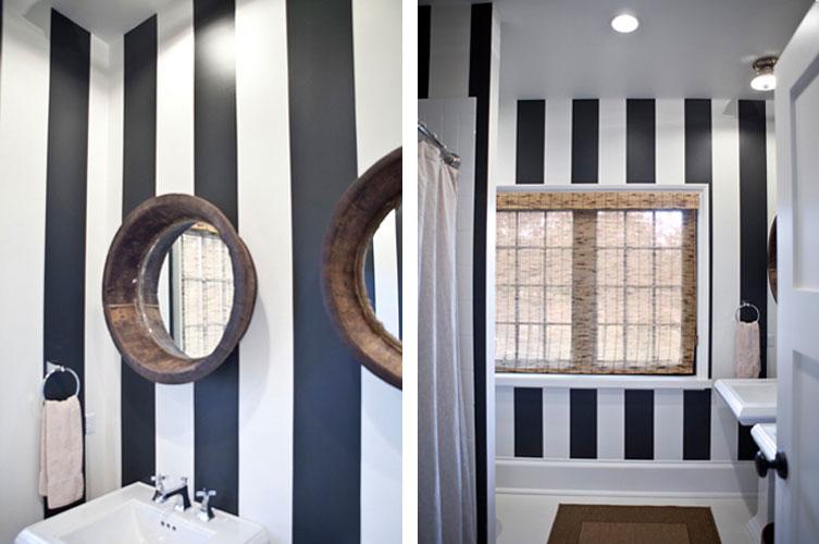 Black and white striped bathroom decor ideasdecor ideas for Black and white striped bathroom accessories