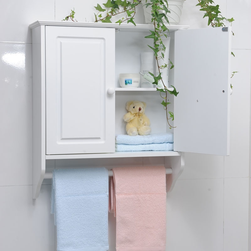 pics photos bathroom wall cabinet for towels with towel bars and