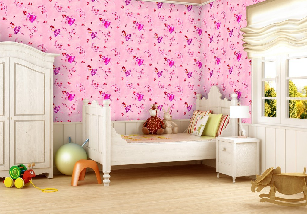 pin design and house kids room cute pink dotty wallpaper