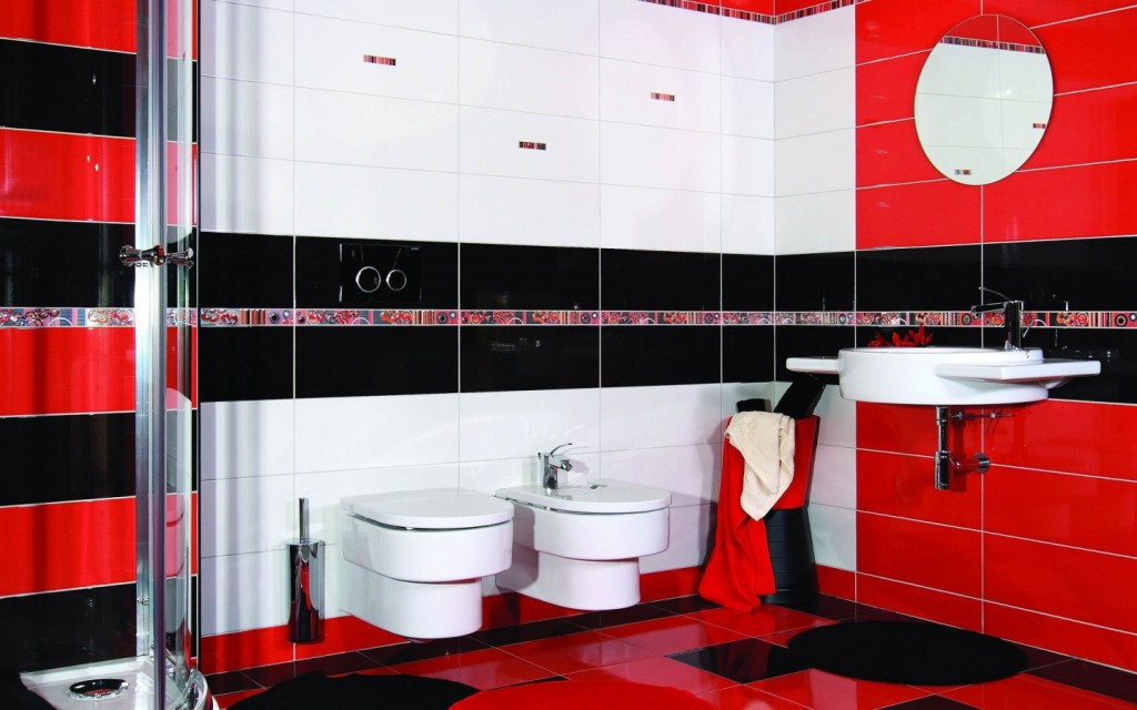 Red black and white bathroom ideas decor ideasdecor ideas for Black white red bathroom decor