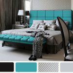 Teal Black and White Bedroom