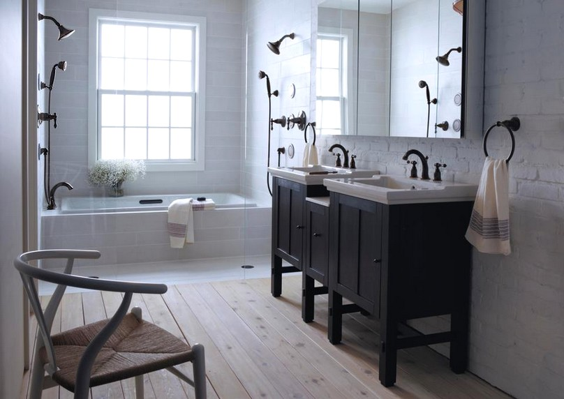 Vintage black and white bathroom designs decor for Bathroom design ideas black and white