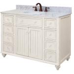 White Bathroom Vanity with Marble Tops