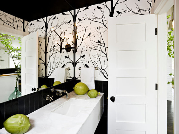 White bathroom wallpaper decor ideasdecor ideas for Bathroom decorating ideas wallpaper