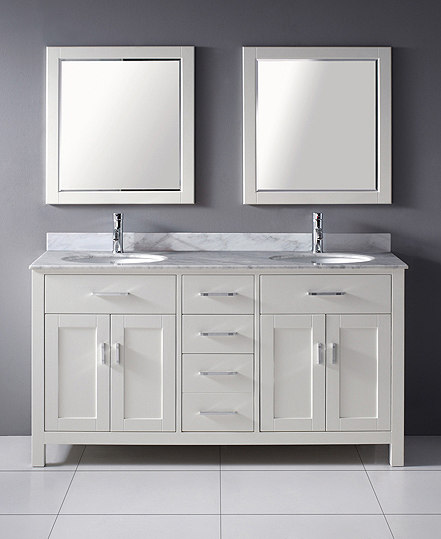 White Double Bathroom Vanity
