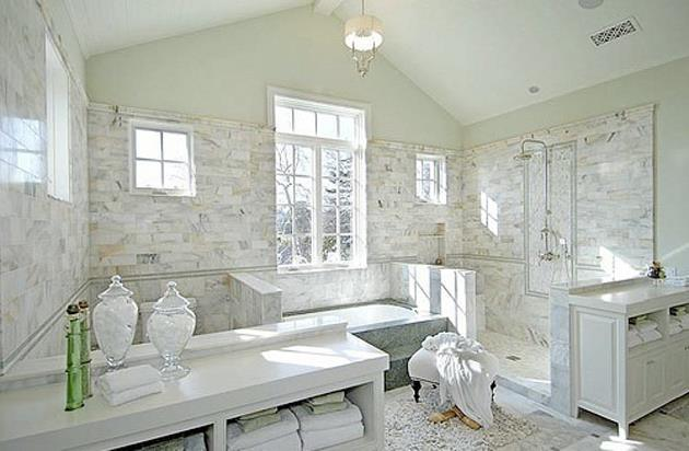 White master bathrooms decor ideasdecor ideas for Marble master bathroom designs