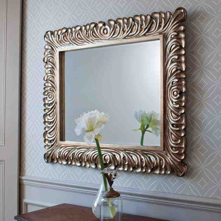 Decorative silver framed wall mirror decor ideasdecor ideas for Mirror wall art