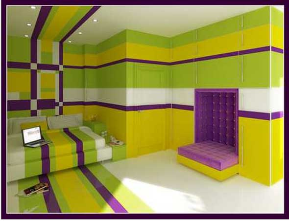 Purple and yellow bedroom ideas decor ideasdecor ideas for Purple and green bedroom walls