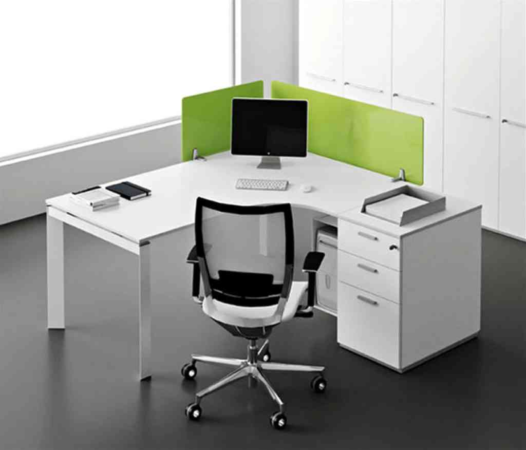 White corner office desk decor ideasdecor ideas for Home office corner desk ideas