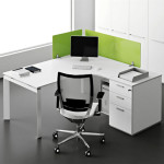White Corner Office Desk