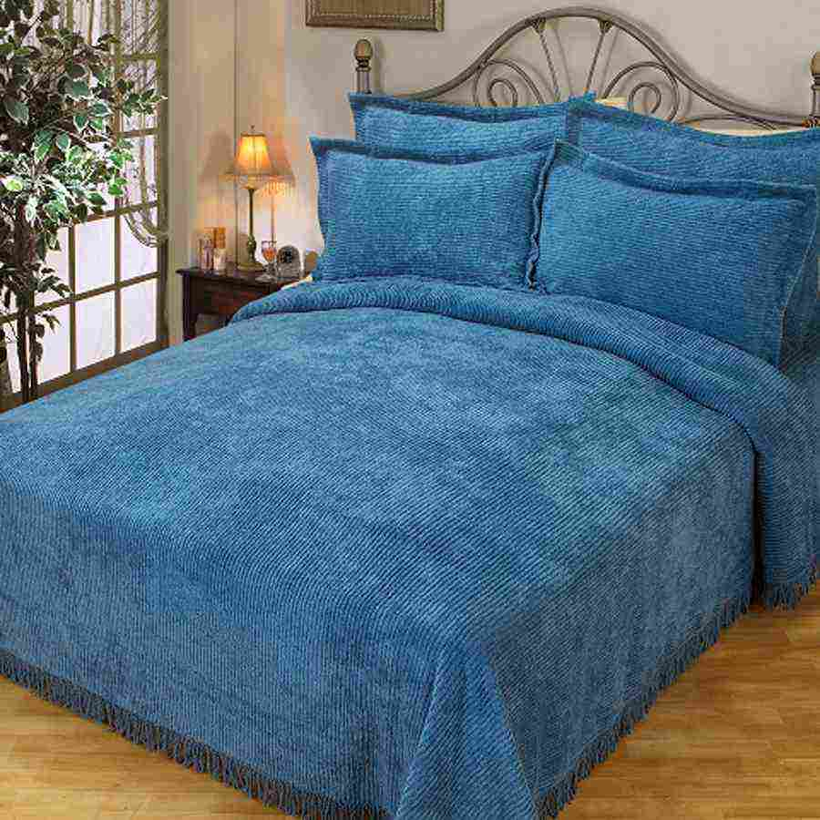 Blue Chenille Bedspread Decor Ideasdecor Ideas