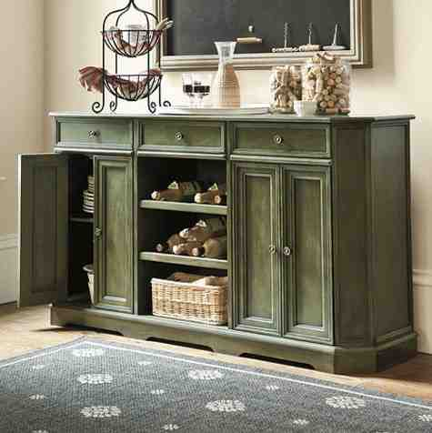 sideboard in dining room fall decorating with rooster dining room