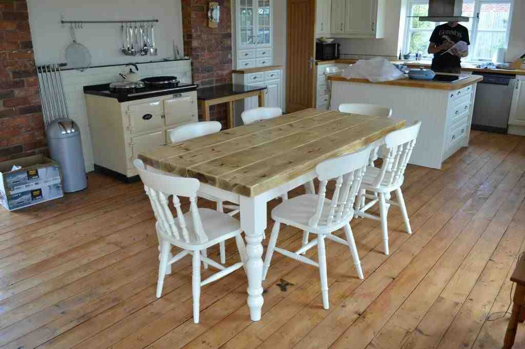 Farmhouse kitchen table and chairs decor ideasdecor ideas for Farmhouse style kitchen table