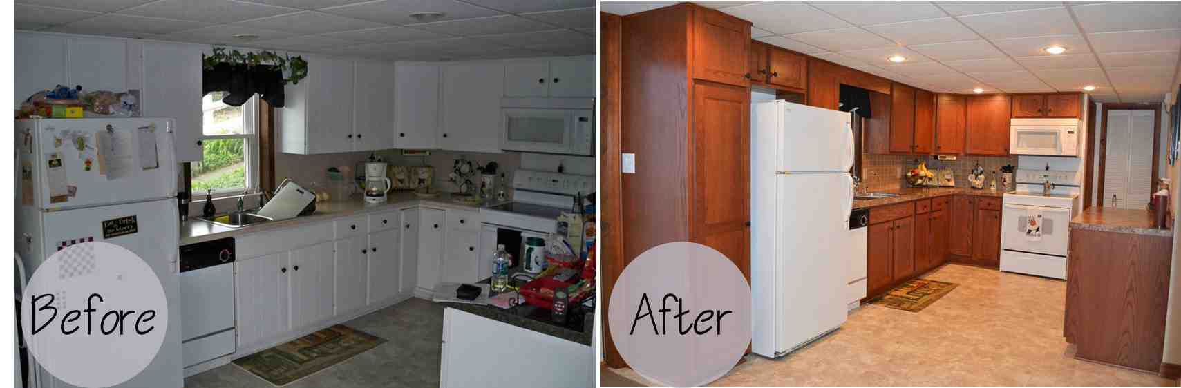 Kitchen cabinet refacing before and after photos decor for Refinishing kitchen cabinets before and after