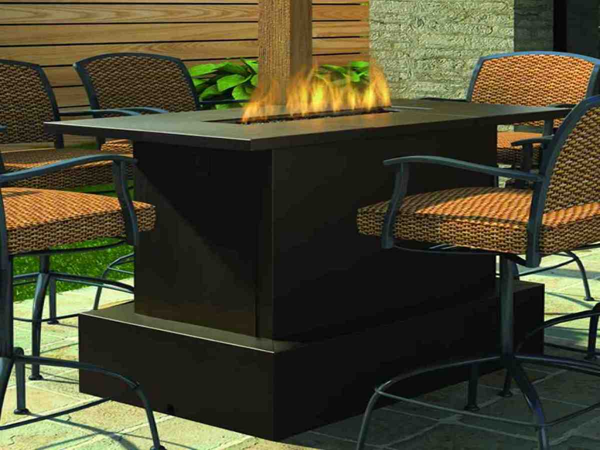Fire pit tables woodlanddirect outdoor fireplaces patio for Patio furniture table set