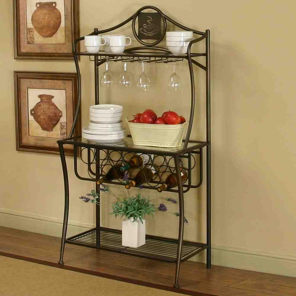 Bakers Rack With Wine Glass Holder Decor Ideasdecor Ideas